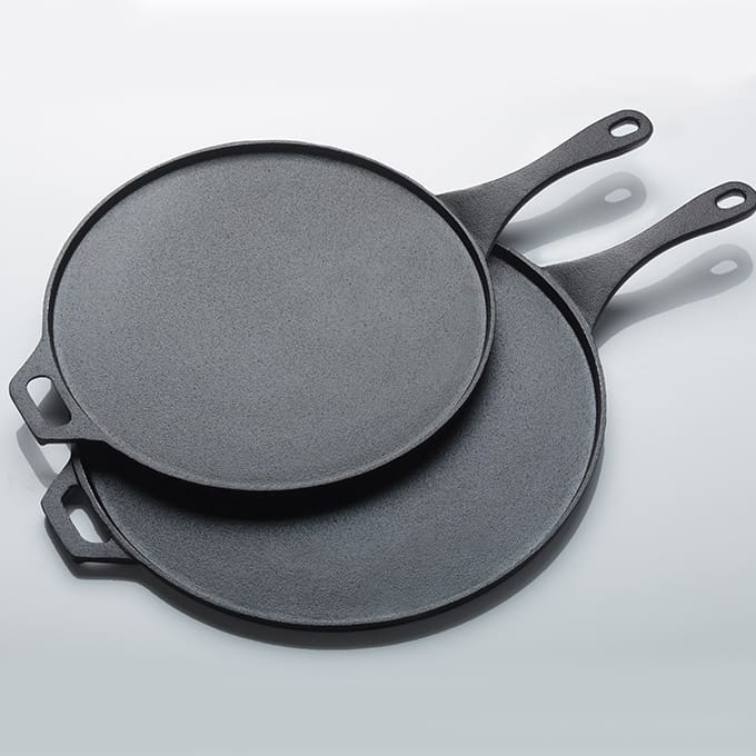 Cast iron low profile round pans american