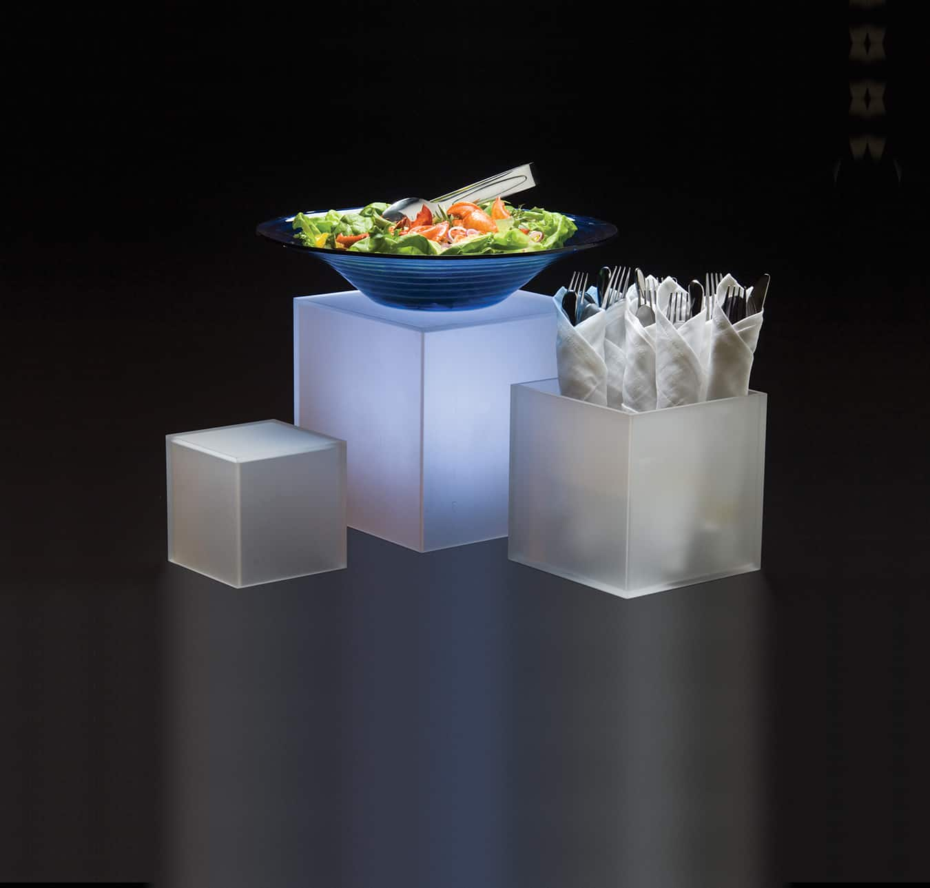 Stands And Risers Acrylic Frosted Cube Riser Set