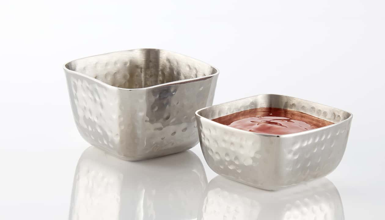 Sauce Cups And Ramekins Square Hammered Stainless Steel